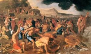 유월절 권능으로 홍해를 건너는 이스라엘 백성들의 모습